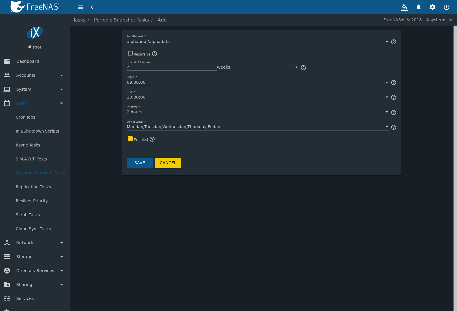 7  Tasks — FreeNAS®11 2-U3 User Guide Table of Contents